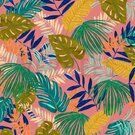 Canvas stof - ByPoppy19/20 7400-005 Canvas Tropical Leaves roze