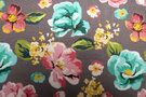 Tricot kinderstoffen - Stenzo20/21 16552-12 French Terry bloemen donker oudroze