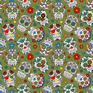 Nieuwe stoffen - Dapper21 15807-026 Katoen bedrukt skulls groen/multi