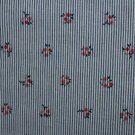 Baumwollstoffe - KN21 17999-609 Seersucker Blumen blau/rot