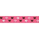 Band - Ripslint hartje fuchsia 25mm 22384-786