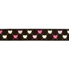 Band - Ripslint hartje donkerbruin 25mm 22384-881