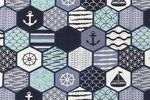NB 1505-050 Interieurstof hexagon marine mint/blauw