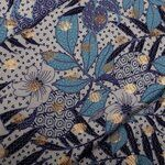 KN20 16930-690 Viscose indonesian flowers foil blauw