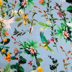 KN20 16844-630 Tricot Tropical Fruits/Birds lichtblauw