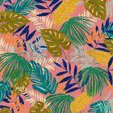 ByPoppy19/20 7400-005 Canvas Tropical Leaves roze