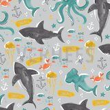 ByPoppy19/20 7299-002 French Terry deep sea life grijs