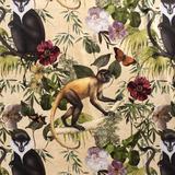 NB 1583-052 Interieur en decoratiestof digitaal velvet Jungle Monkeys beige