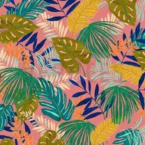 ByPoppy19/20 7400-005 Canvas Tropical Leaves roze - ByPoppy19/20 7400-005 Canvas Tropical Leaves roze