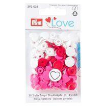 Prym Love drukknopen hart wit/rood/roze (393.031) - Prym Love drukknopen hart wit/rood/roze (393.031)
