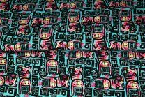 Stenzo20/21 16216-99 Tricot digitaal Bunny Loves You turquoise - Stenzo20/21 16216-99 Tricot digitaal Bunny Loves You turquoise