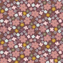ByPoppy21 8265-014 Tricot flowers and hearts mauve - ByPoppy21 8265-014 Tricot flowers and hearts mauve
