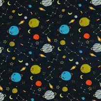 ByPoppy21 8319-005 Tricot fly me to space indigo - ByPoppy21 8319-005 Tricot fly me to space indigo