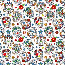 NB21 15809-050 Tricot bedrukt skulls wit - NB21 15809-050 Tricot bedrukt skulls wit