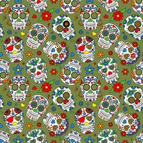 Dapper21 15807-026 Katoen bedrukt skulls groen/multi - Dapper21 15807-026 Katoen bedrukt skulls groen/multi