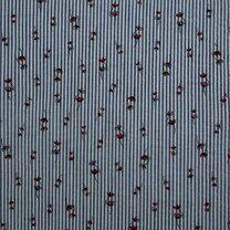KN21 17999-604 Seersucker stripe bloemen blauw - KN21 17999-604 Seersucker stripe bloemen blauw