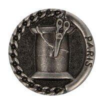 Knoop metaal klosje/schaar donker nickel (5658/24)* - Knoop metaal klosje/schaar donker nickel (5658/24)*
