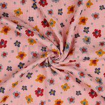 -ByPoppy21 8853-009 Hydrofielstof bloemetjes oudroze - ByPoppy21 8853-009 Hydrofielstof bloemetjes oudroze