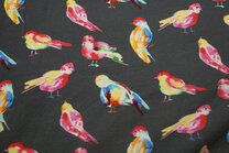 -ByPoppy21 5766-002 Tricot vogeltjes taupe/multi - ByPoppy21 5766-002 Tricot vogeltjes taupe/multi