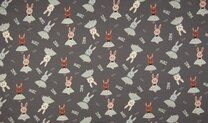 -K23016-068 Tricot glitter dancing rabbit donkergrijs - K23016-068 Tricot glitter dancing rabbit donkergrijs