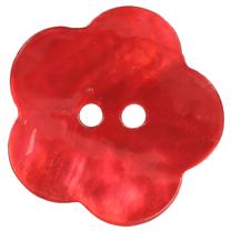 Knopf Blume perlmutt rot 5536/28 - Knopf Blume perlmutt rot 5536/28