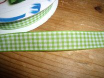 Sierband geruit (15 mm) lime/wit* - Sierband geruit (15 mm) lime/wit*