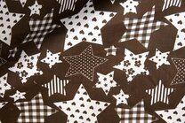 NB 5649-055 Katoen fantasie sterren donkerbruin - NB 5649-055 Katoen fantasie sterren donkerbruin