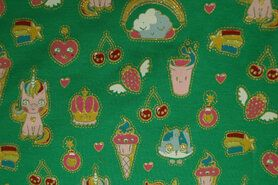 Zomer - ByPoppy19 6530-005 French Terry glitter Candy Dream groen