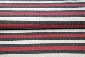 Katoen, polyester, viscose - Stenzo19 14811-11 Tricot gestreept rood