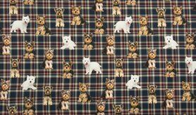 Tricot stoffen - KC7502-405 Tricot checked dogs blauw