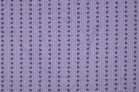 Bedrukte - NB 11073-043 Katoen/Poplin hert/streep lila