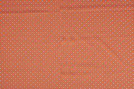 Bedrukte katoenen stoffen - NB 11079-036 Katoen/Poplin voet-balletjes oranje