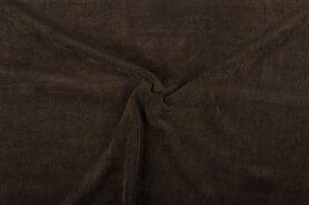 Ribcord en velvet - NB 1576-055 Ribcord stretch donkerbruin