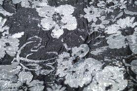 Polyester stof - Ptx20 418007-61 Jacquard feestelijk bloemen donkergrijs/glitter