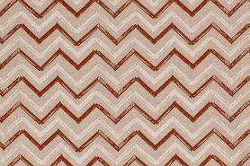 80% katoen, 20% polyester - NB20 1554-056 Interieur en decoratiestof linnenlook zigzag terra