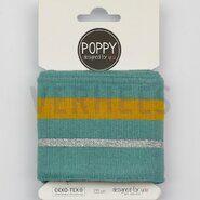 Kurzwaren für Taschen - ByPoppy20 6564-003 Boord/Manchet Cuffs lurex mint/oker/zilver