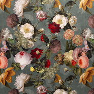 Polyester stof - NB 1578-022 Interieur en decoratiestof digitaal velvet big flowers mint