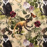 Gordijnstoffen - NB 1583-052 Interieur en decoratiestof digitaal velvet Jungle Monkeys beige