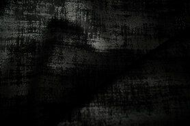 Polyester stof - BM 340066-C-X Interieur- en gordijnstof fluweelachtig patroon zwart
