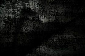 Zwarte meubelstoffen - BM 340066-C-X Interieur- en gordijnstof fluweelachtig patroon zwart