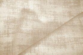 Beige meubelstoffen - BM 340066-P2-X Interieur- en gordijnstof fluweelachtig patroon lichtbeige