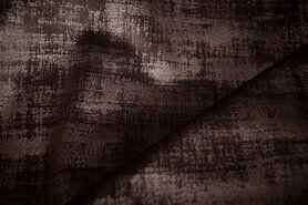 Bruine meubelstoffen - BM 340066-Q5-X Interieur- en gordijnstof fluweelachtig patroon donkerbruin