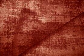 Bruine meubelstoffen - BM 340066-S-X Interieur- en gordijnstof fluweelachtig patroon roest
