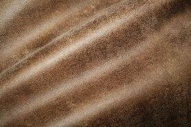 Meubelstoffen - BM 322221-F7-X Interieurstof suedine leatherlook bruin