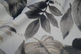 Meubelstoffen - BM 6535501-0 Verduisterende gordijnstof bladeren grijs