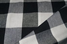 Geruite stof - Katoen BB ruit 5 cm zwart/wit