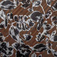 Glanzende - KN20 16522-098 Floral Satin Lurex Stripe bruin
