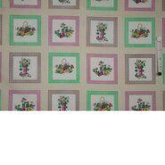 Stoffen uitverkoop - Ptx 940046-11 Katoen ruit/bloemen creme/roze/groen