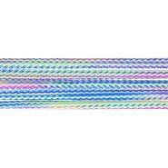 Blauw - Vierkant koord gemeleerd groen/blauw/roze 5mm (95687)