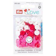 Druckknöpfe - Prym Love drukknopen hart wit/rood/roze (393.031)pr